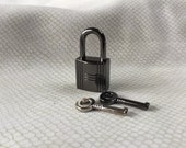 Large Gun Metal Black Colored Grooved Square  Working Padlock