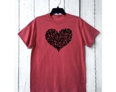 heart tshirt . Women's heart tee . heather red . unisex