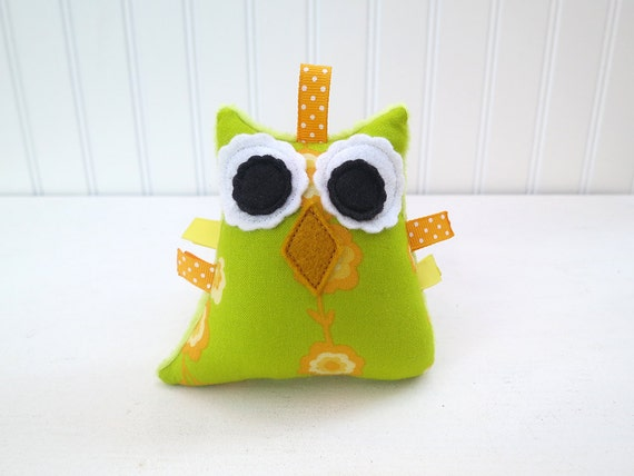 Owl Plush Rattle Baby Toy Small Stuffed Owl Minky Plush Lime Green Ready to Ship