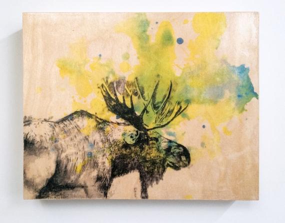 Moose Painting Wood Wall Art Panel Moose Animal Art on Wood