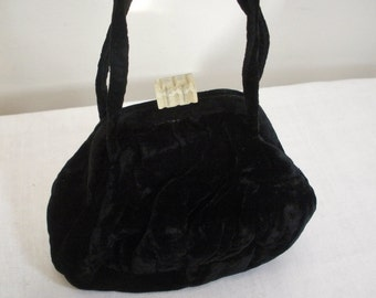 Vintage Black Velvet Purse with Lucite Clasp - Evening Bag