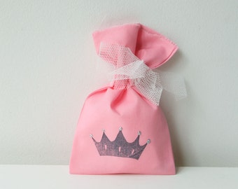 PRINCESS Party Favour Bags - Princess/ Prince theme, little princess, Princess treat bag, princess favour bag, pink favour bag x 10