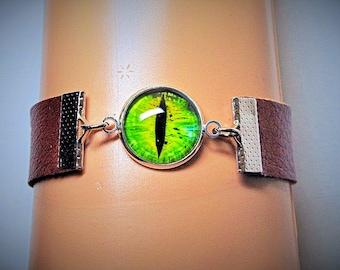 Mens womens adjustable handmade brown genuine leather bracelet cuff. Dragon eye bracelet cuff.