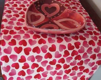 "Valentines Day Heart Table Runner 36"" Reversible Valentines Table Runner Pink Hearts Runner Sweetheart Table Runner Valentines Day Runner"