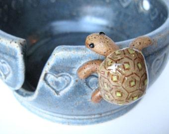 Bernard, the turtle yarn bowl / holder in rustic blue, IN STOCK