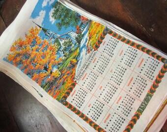 Vintage 1973 Linen Calendar Tea Towel