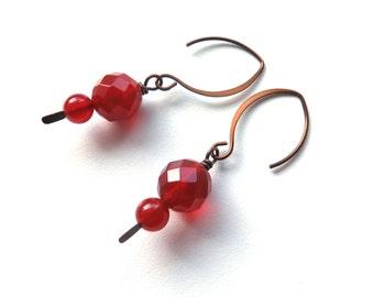 Carnelian rust colour dangle handmade earrings australian jewellery