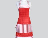 Chef Apron . Woman Reversible Red and White Stripes Cute Retro Vintage Style for Cooking or Hostess