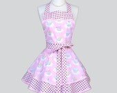 Ruffled Retro Aprons - Cute Full Flirty Vintage Womans Apron in Pink Polka Dot Birthday Party Cupcakes Kitchen Cooking Womens Apron