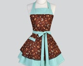 Ruffled Retro Aprons - Flirty Full Vintage Teal and Rust Falling Leaves Womens Cute Kitchen Cooking Apron Personalize or Monogram
