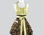 Flirty Chic Womens Aprons - Bountiful Fall Thanksgiving Grape Leaves Vintage Style Pinup Kitchen Apron