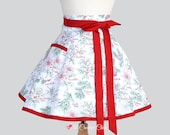 Womens Waist Aprons , Cute Flirty Full Skirt Retro Half Apron in Vintage Christmas Misteletoe and Poinsettia Kitchen Cooking Womans Apron