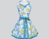 Sweetheart Retro Womans Apron / Cute Vintage Birch Farm Turquoise Sage Almond Florals in Womens Sexy Flirty Cute Womens Cooking Apron