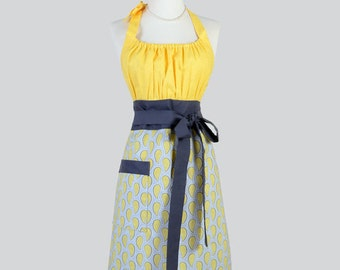 Cute Kitsch . Gray and Yellow Paisley with Daisies Modern Chef Apron