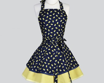 Ruffled Retro Aprons - Cute Vintage Kitchen Womans Apron in Navy Blue and Yellow Bandanna Flirty Full Cooking Womens Apron Personalize