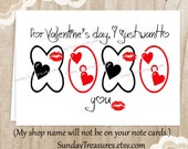 I Just want to XOXO You /  Valentine's Day Card / Hug You Kiss You / Funny Husband Wife Partner Boyfriend Girlfriend / Ready To Ship (nc)