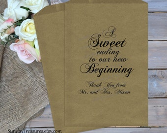 WEDDING Cookie Candy Buffet Party Favor Bags / A SWEET Ending to our new Beginning  / 10 Paks / Baby Anniversary Ba
