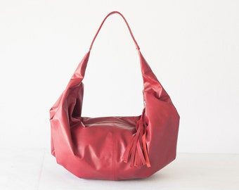 Leather hobo bag red, shoulder purse small shoulder bag hobo purse women red bag everyday purse - Mini Kallia bag