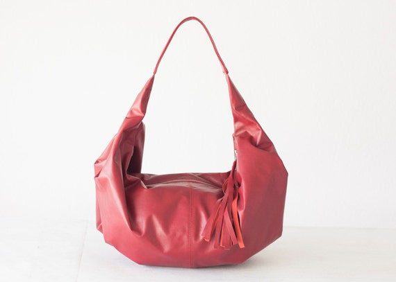 Leather hobo bag red, shoulder purse small shoulder bag hobo purse women red bag everyday purse - Mini Kallia bag