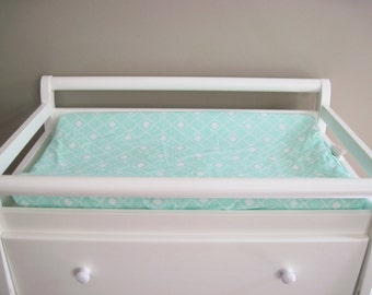 mint green and white changing pad cover mint green baby changing pad cover