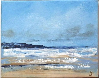 Abstract beach art, 8x10 beach painting with beach foam, small ocean painting with land, some texture