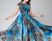 blue floral dress, blue party dress,floral evening gown,Maxi dress ,chiffon dress, women dresses, long dress, Prom dress, cap sleeve (1520)