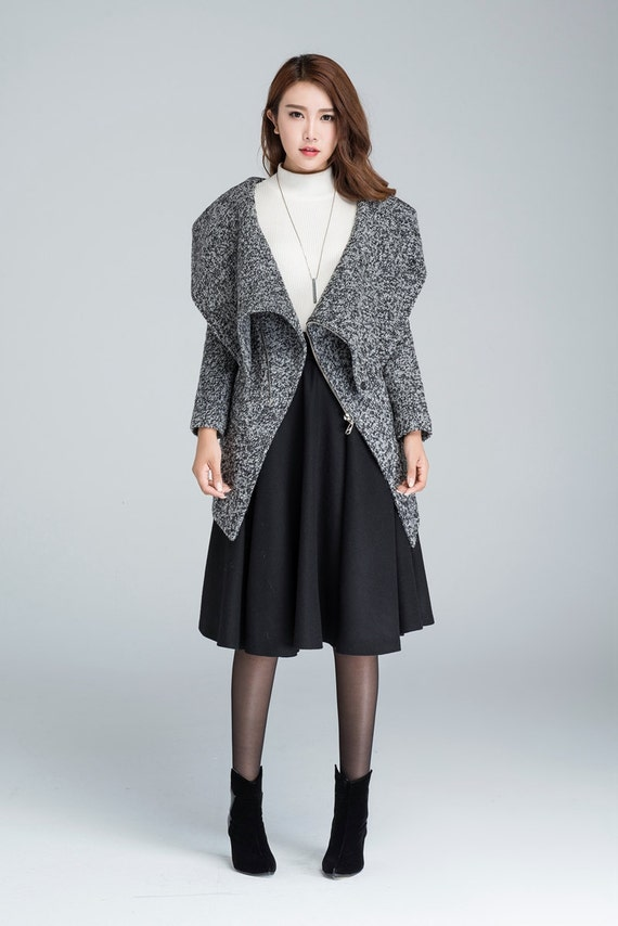 spring coat Cowl neck coat womens coats asymmetrical coat