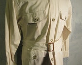 Vintage Men's Jacket Royal Explorers Corps Size 40 Ivory Button Up with Belt at Waist