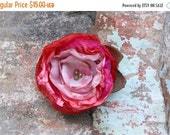 SALE 50% Pink and Red Flower Brooch, Handmade Fabric Flower Pin, Flower Accessory, Dress flower, Tagt Team