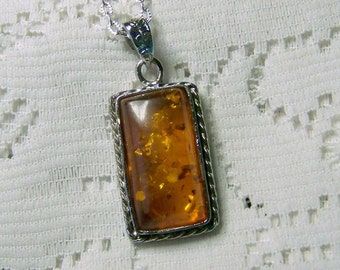 Amber Rectangle Pendant, Faux golden amber crystals, Golden Amber Large Silver Plated Pendant, Golden Amber, Yellow Amber