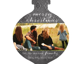 Ornament Photo Christmas Card -- Custom Printable PDF, Ornament Cut-out, Family Photo
