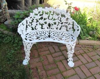 Mid Century Cast Iron Garden Bench, White Grape Vine