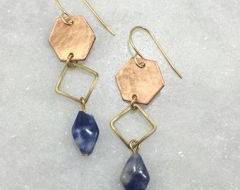 Copper, Hexagon, Kyanite Earrings | E11614
