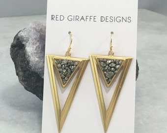 Brass Triangle Pyrite Earrings | Geometric | E31604