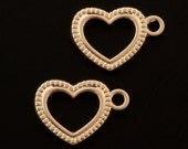 5 Rose Gold Plated Falling Heart Charms - 20.6mm X 14.6mm - Matching Jump Rings Included - 100% Guarantee