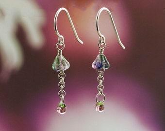 Bell Flower Earrings In Sterling Silver, 14kt Gold Filled or 14kt Rose Gold Filled
