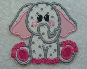 Iron on Elephant Fabric Embroidered Iron On Applique Patch Ready to Ship