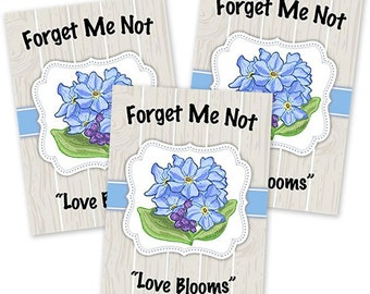 "Seed Packet Favors, Set of 25 (Blue Forget-Me-Not) ""Love Blooms"""
