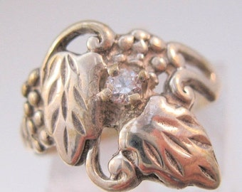 BIGGEST SALE of the Year Vintage Grapes & Grape Leaves Crystal Sterling Ring Size 7 Jewelry Jewellery