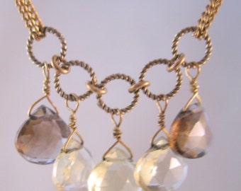 "Modern Citrine & Smokey Quartz Teardrop Gold Filled Necklace 17"" Vintage Jewelry Jewellery"