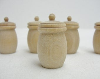5 Miniature canisters, mini cookie jar, miniature crock dollhouse furniture, unfinished DIY