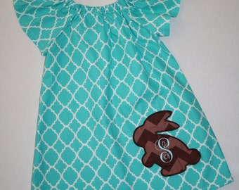 Easter dresses for toddler girls aqua blue quatrefoil peasant dress with bunny applique an monogram, girls easter dress, easter outfit