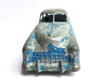 "Vintage Metal Toy Car, Blue Tootsie Die Cast Car, Chippy Blue Metal Car, 6"" Tootsie Car, 1940s Toy Car"