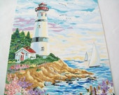 Hand Painted Picture, Completed paint by number seaside art, lighthouse