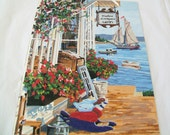 Hand Painted Seaside Painting, Paint by Number, Completed picture
