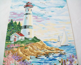 SALE - Hand Painted Picture, Completed paint by number seaside art, lighthouse