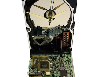 FREE SHIPPING! Hard Drive now a Clock with Rare Circuit Board Accenting the Base. Got Company Award?