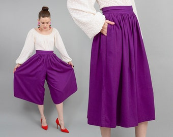 Vintage 80s SILK Purple Culottes High Waist Full Wide Leg Cropped Pants 1980s Gaucho Palazzo Pants Small XS S