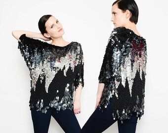 Silk 80s Paillette Sequined Top Beaded Fringe 1980s Avant Garde Disco Blouse Draped Loose Cocktail Top Black Metallic Silver S M