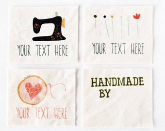 Custom Sewing Tags - Hand Drawn Sewing Graphics on Organic Cotton (Sew On Clothing Labels)